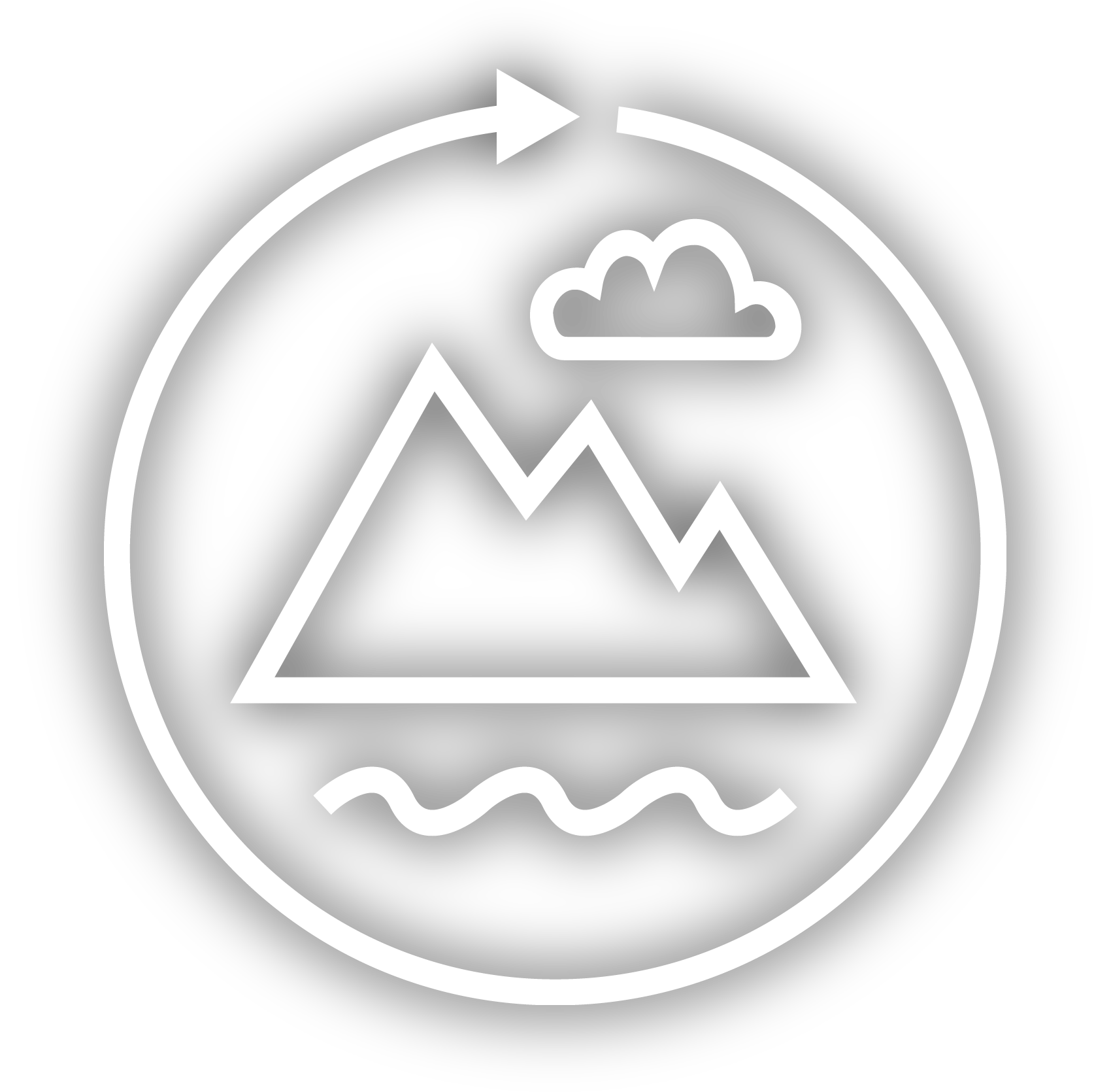 Scenic Loops Logo - mountain, stream, clouds, loop